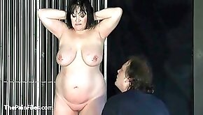 BBW amateur Chinas extreme needle bdsm and caged cattle prod electro torture of fat submissive