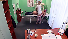 Voluptuous nurse helps with dick pain
