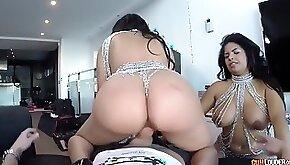 Latina bombshell twins sheila ortega and kesha ortega in crazy 3some