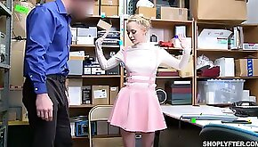 Shoplifting chick Athena Rayne gets cunt and mouth punished in the backroom