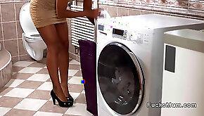Hot black Milf interracial banging in bathroom