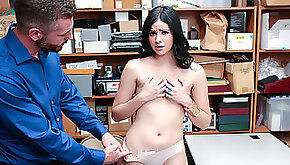 Sexy shoplifter fucks security officer