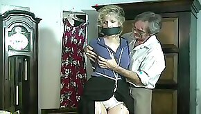 Mature office girl with tied tits
