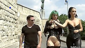 Mistress in leather disgraces Euro bitch