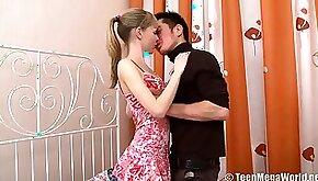 Fresh beautiful babe with big boobies Kristina C gets pink slit poked missionary