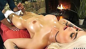 Jaw dropping transgender Domino Presley is fucked after a full body massage
