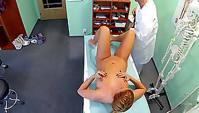 Slim girl plowed on hospital bed