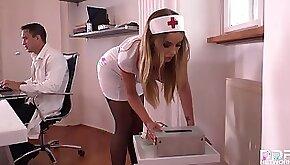 Gagged nurse Candy Alexa gets her asshole filled during medical center sadism