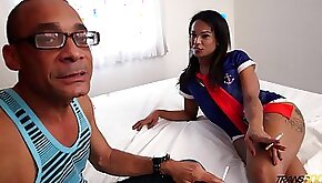 Lecherous tranny with big ass Melk Ross goes black for the first time