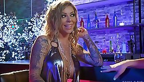 Tattooed pornstar Karma RX gets fucked in the club by the shemale
