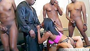 Wild gangbang group sex orgy with sexy busty ebony slut big black cocks