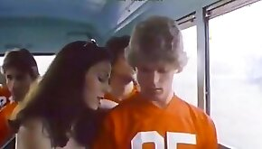 Cute classic blonde teen gives eager blowjob in the bus