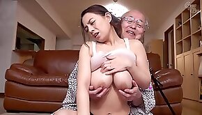 Old and young hardcore with cute babe and lucky grandpa