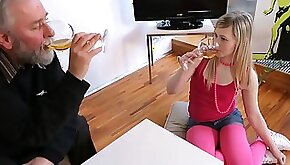 Young blonde Renata having oral sex before fucking old mans brains out