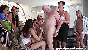 Large group party with lot of old dudes and dirty matures