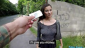 Youthful beauty agrees to fuck in public for cold hard cash