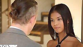 Lusty ebony model Nia Nacci gets fucked from behind