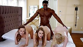 One muscled black stallion bangs three beautiful babes at once
