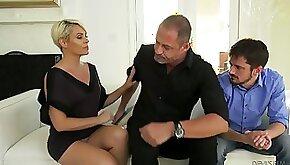Nasty wife Helena Locke gets throat fucked under her husbands nose