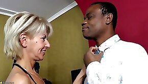 Fully erected black hard cock for the tight pussy of an experienced lady