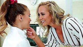 Hot MILF Megan Rain with 18 y.o. cute schoolgirl
