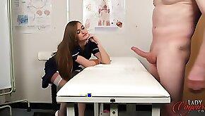Nurse Honour May enjoys watching her boyfriend stroke his dick