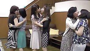 Group of japanese lesbians kissing
