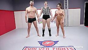 Brandi Mae rough wrestling sex fight vs Jack Friday