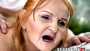 Granny doggystyled like slut and treated with cum in mouth