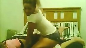 Young girls pussy wrestle as girlfriend sucks big dick in next room